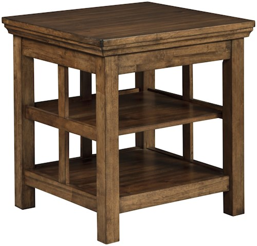 Signature Design by Ashley Flynnter Transitional Square End Table in Medium Chestnut Brown Finish