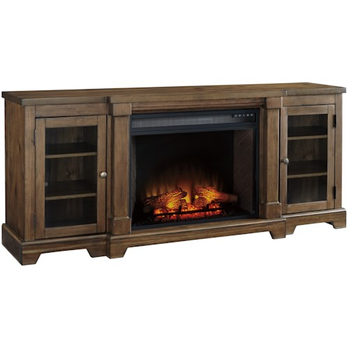 Signature Design by Ashley Flynnter Breakfront Extra Large TV Stand with Fireplace Insert