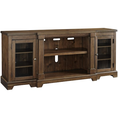 Signature Design by Ashley Flynnter Breakfront Extra Large TV Stand with Glass Doors