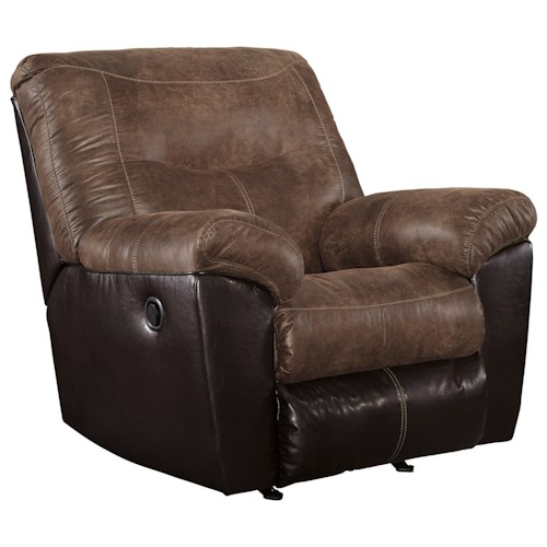 Signature Design by Ashley Follett Two-Tone Faux Leather Rocker Recliner