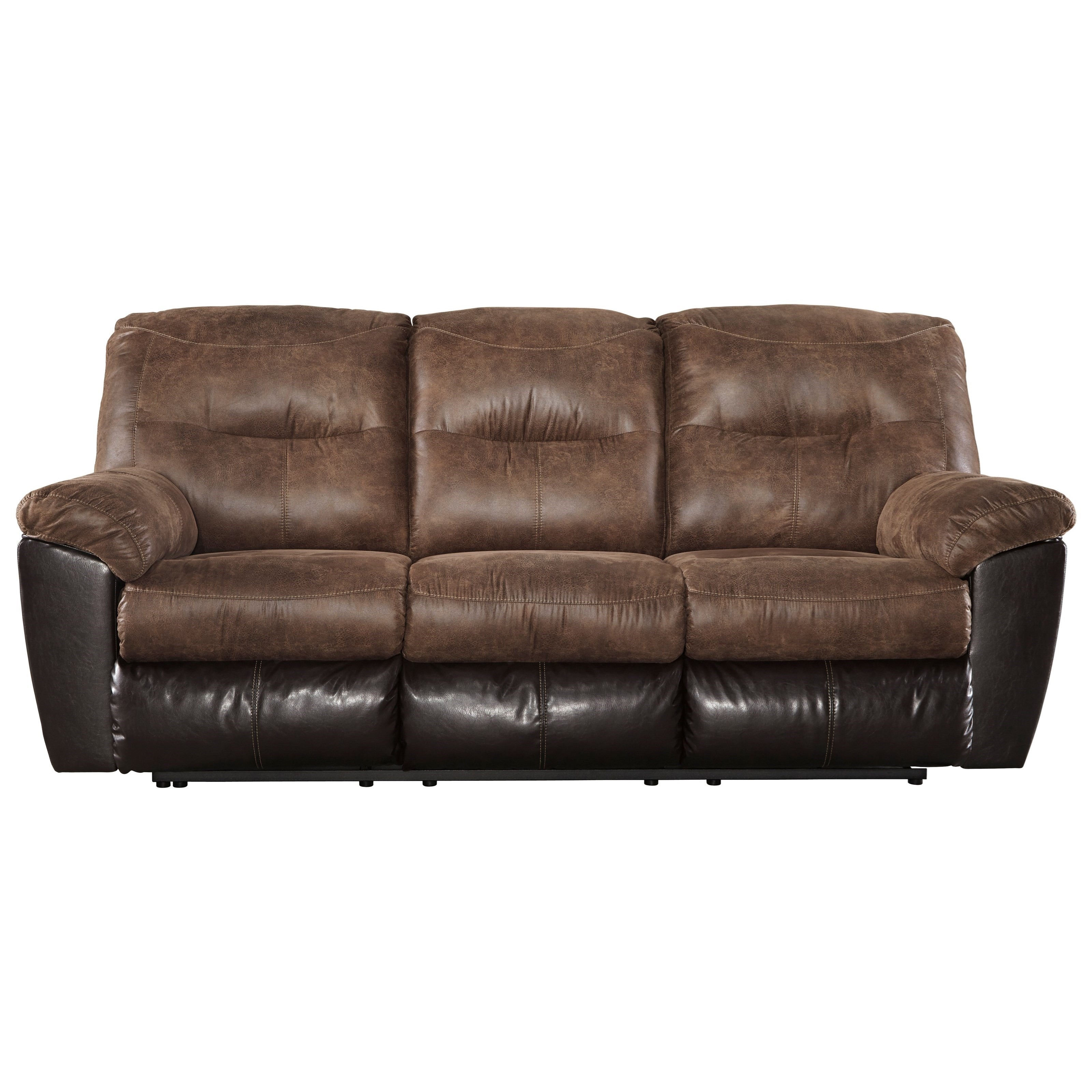 Signature Design By Ashley Follett Two Tone Faux Leather Reclining Sofa |  Royal Furniture | Reclining Sofas