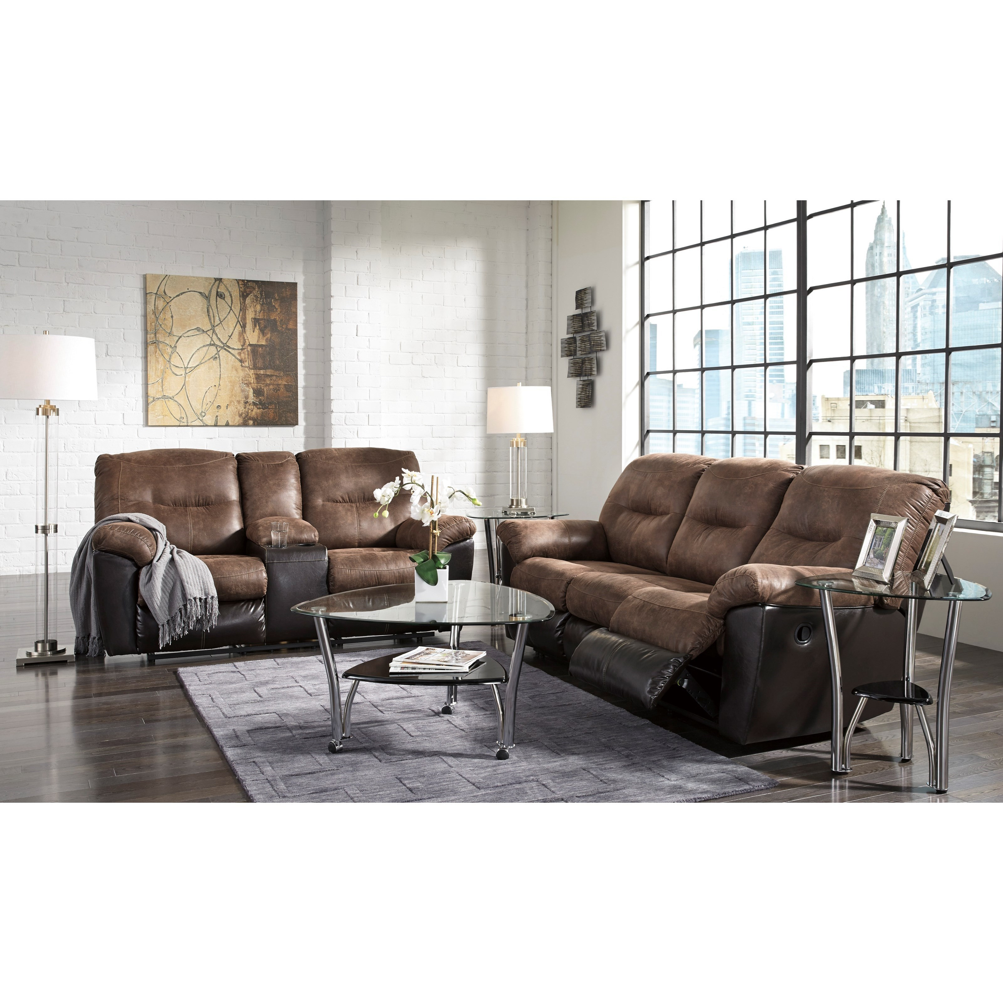Signature Design By Ashley Follett Two Tone Faux Leather Reclining Sofa Part 56