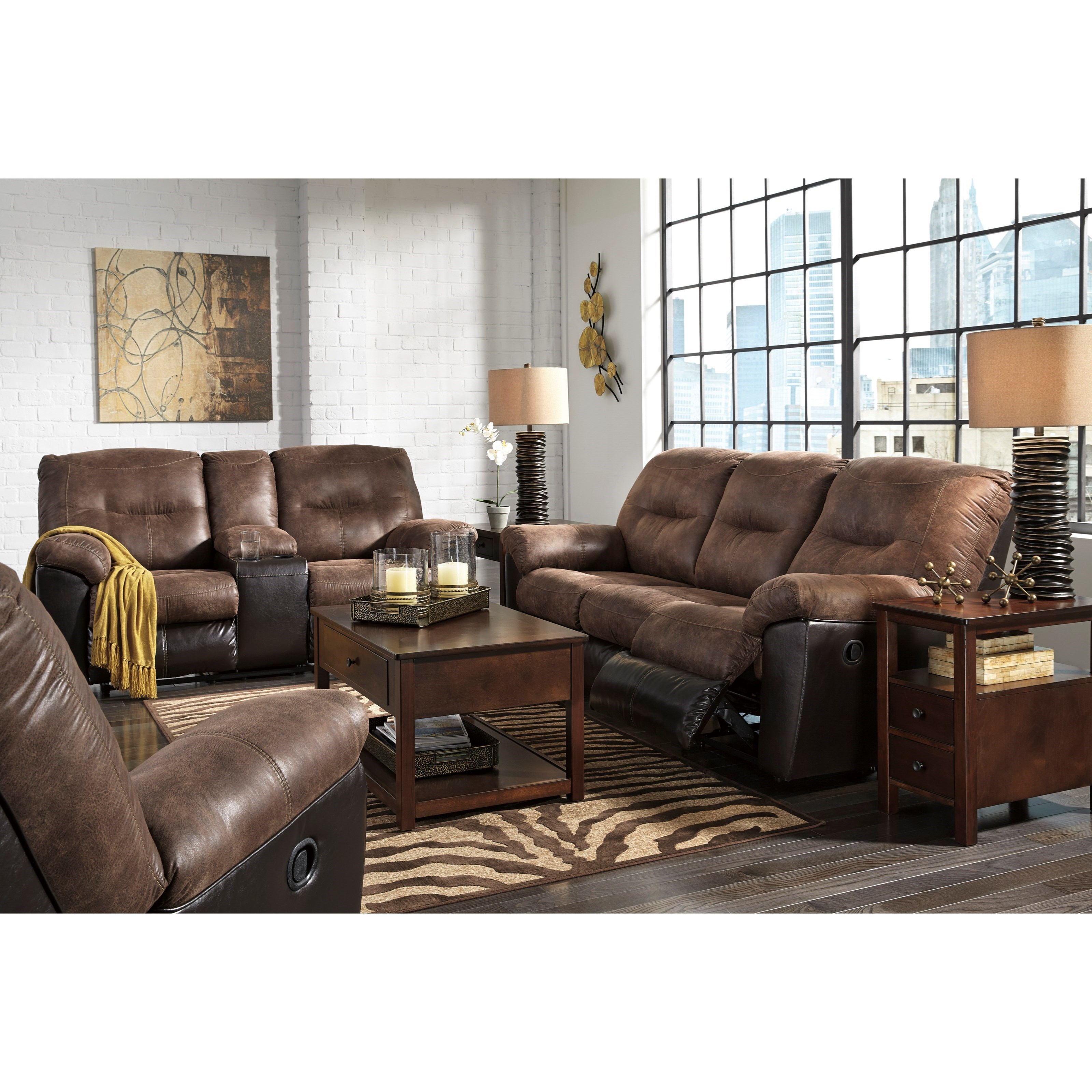 Signature Design By Ashley Follett Two Tone Faux Leather Reclining Sofa