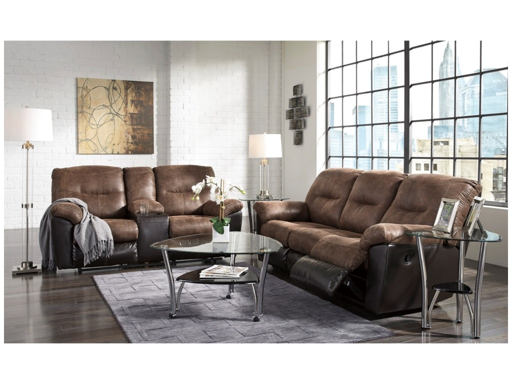 Signature Design by Ashley FollettDouble Reclining Loveseat w/ Console