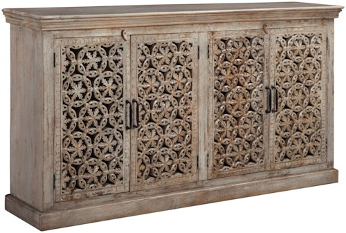 Signature Design by Ashley Fossil Ridge 4-Door Hand-Carved Console