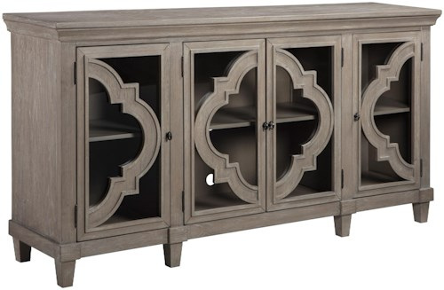 Signature Design by Ashley Fossil Ridge - 037 Transitional Accent Cabinet with Adjustable Shelves