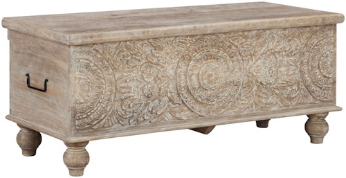 Signature Design by Ashley Fossil Ridge Solid Wood Accent Storage Bench