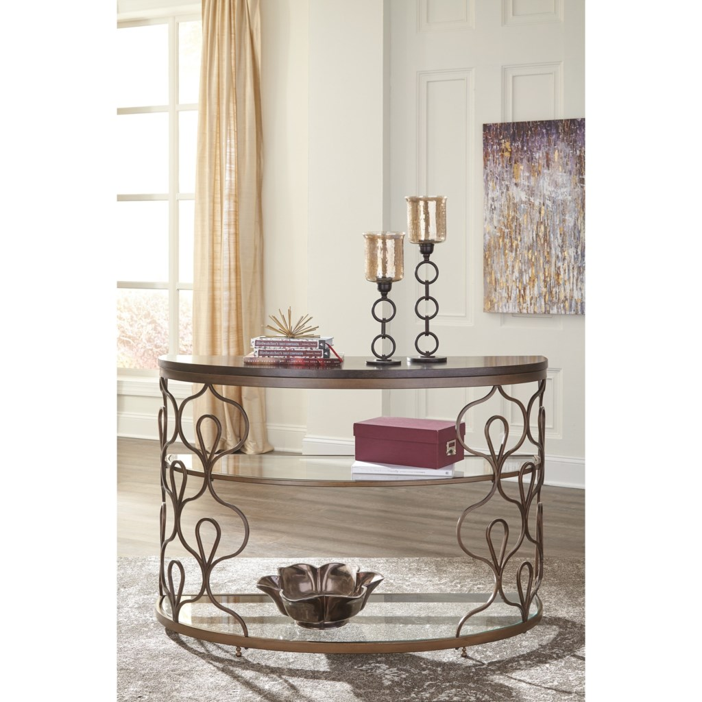 Fraloni T086-4 Demllune Sofa Table With Wood Top And Glass Shelves By  Signature Design By Ashley