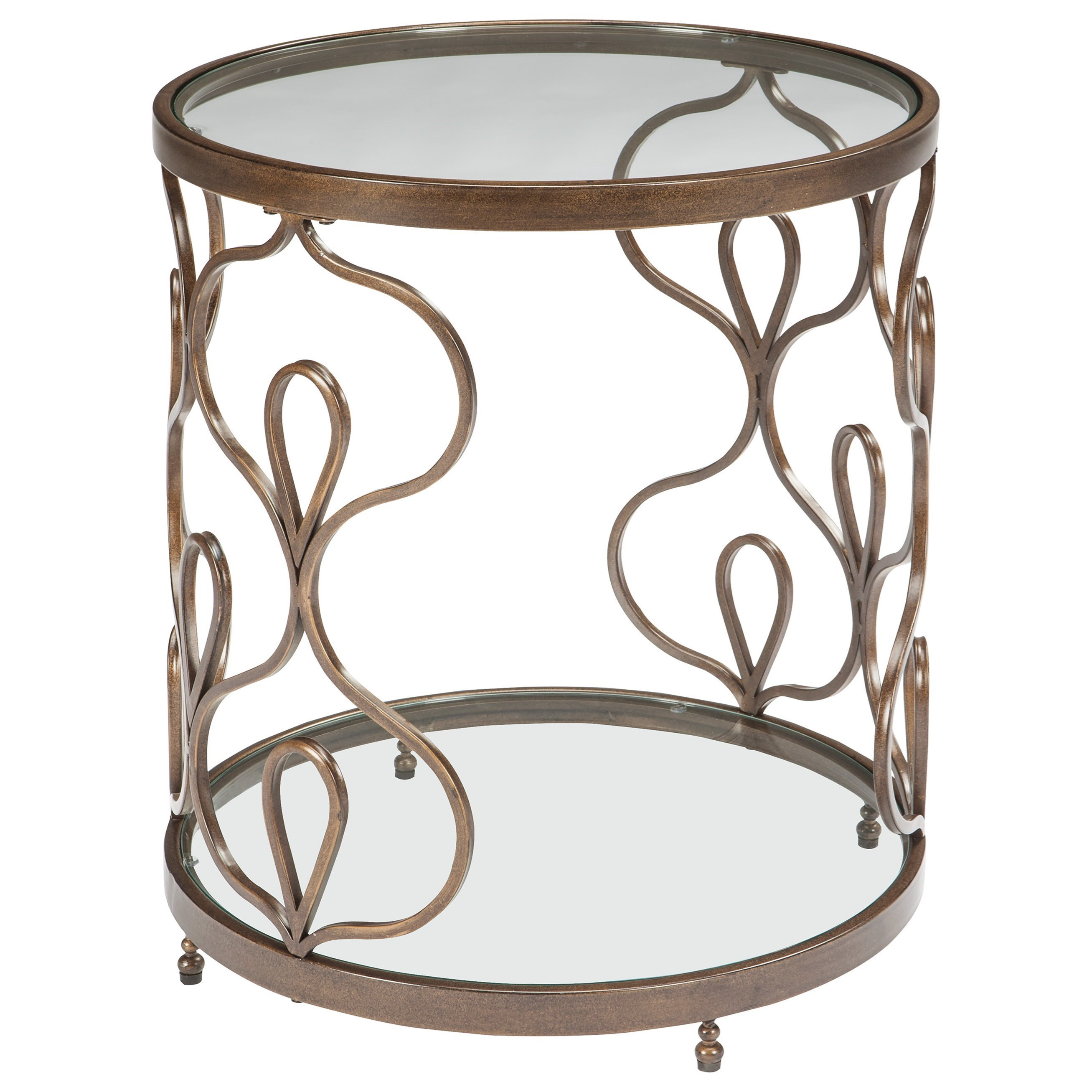 Signature Design By Ashley Fraloni Glass Top Round End Table In Bronze  Finish