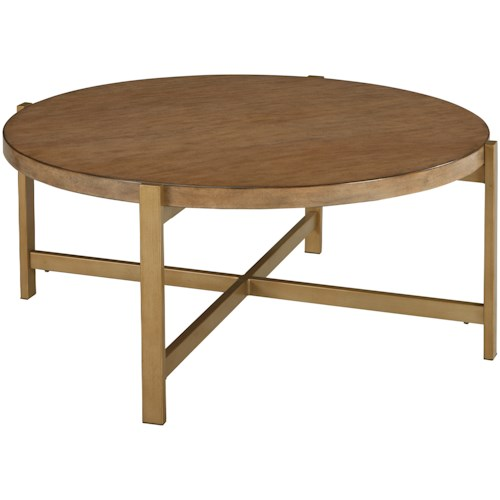 Signature Design by Ashley Franston Contemporary Round Cocktail Table with Metal Base