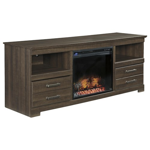Signature Design by Ashley Frantin Rustic Look Large TV Stand w/ Fireplace Insert