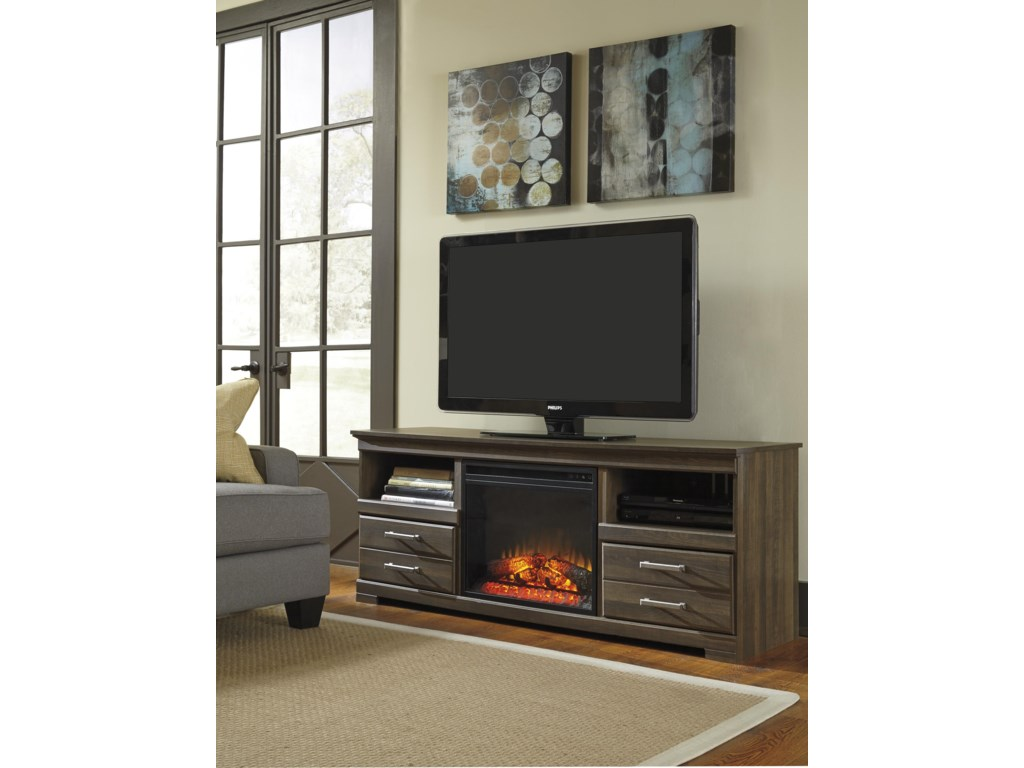 Signature Design by Ashley FrantinLarge TV Stand w/ Fireplace Insert