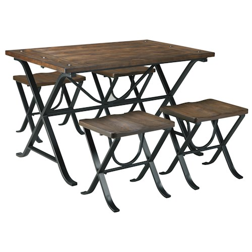 Signature Design by Ashley Picnic Industrial Style Rectangular Dining Room Table Set