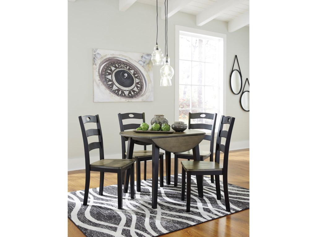 Signature Design by Ashley Froshburg5-Piece Round Drop Leaf Table Set