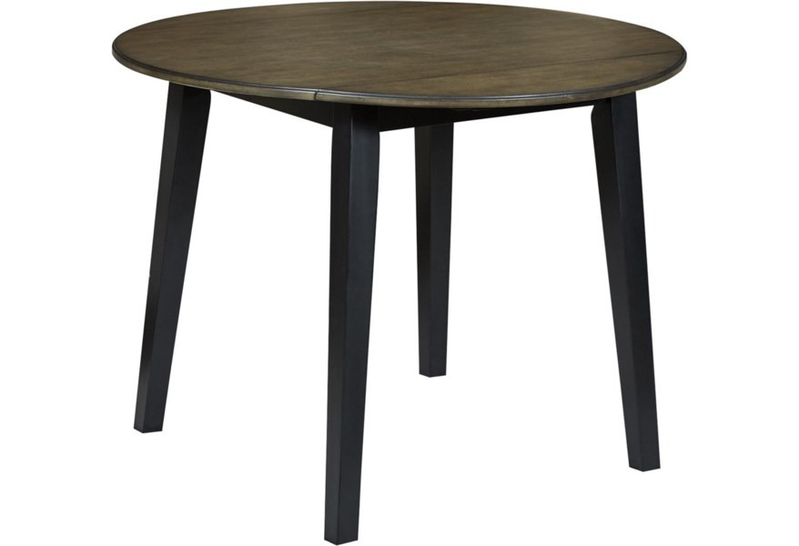 Froshburg Two-Tone Finish Round Drop Leaf Table by Ashley Signature Design  at Dunk & Bright Furniture