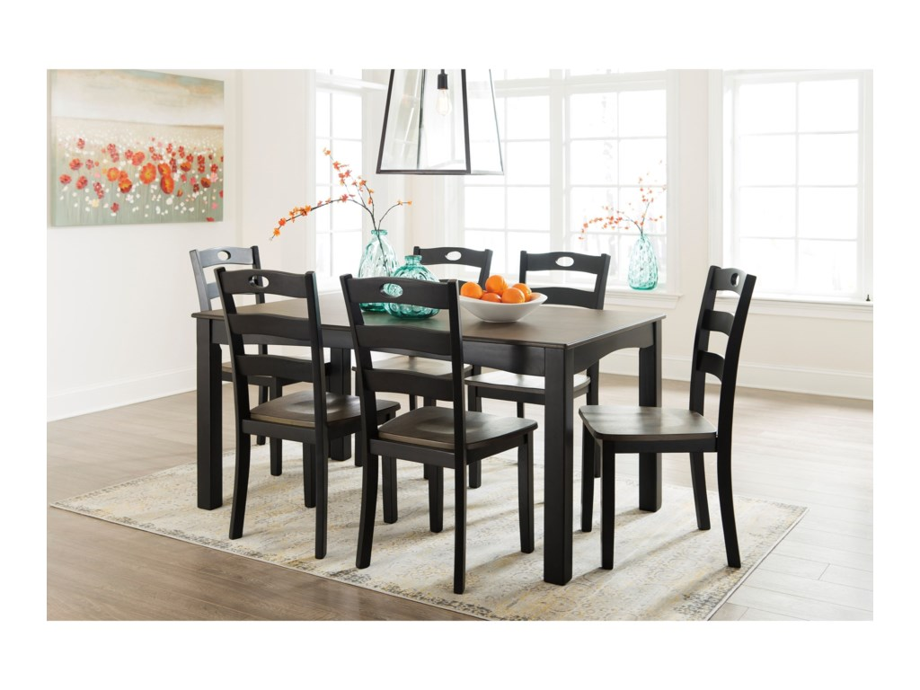 Ashley Signature Design Froshburg D338 425 Two Tone Finish 7 Piece Dining Room Table Set