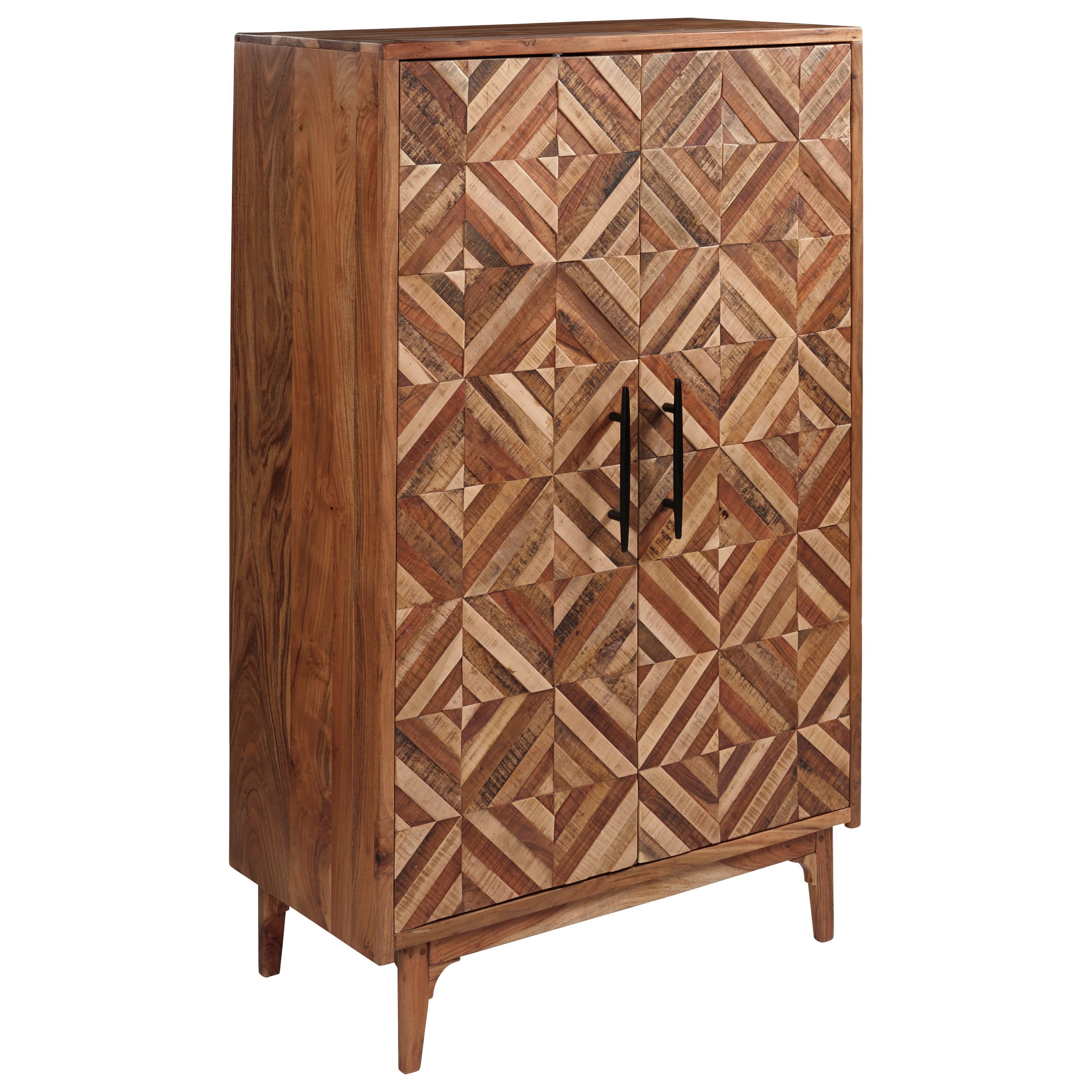 Mid-Century Modern Accent Cabinet with Patterned Doors