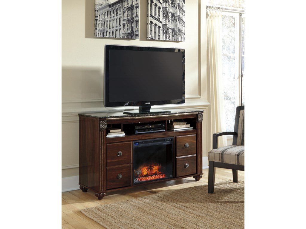 Signature Design by Ashley GabrielaLarge TV Stand with Fireplace Insert