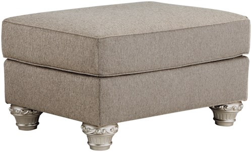 Signature Design by Ashley Gailian Ottoman with Silver Finish Ornate Details