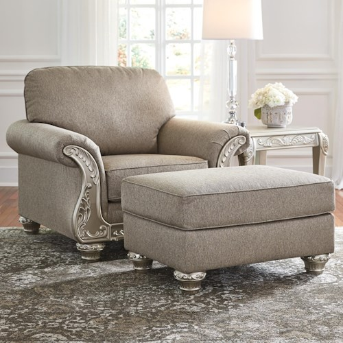Signature Design by Ashley Gailian Chair & Ottoman with Silver Finish Ornate Details