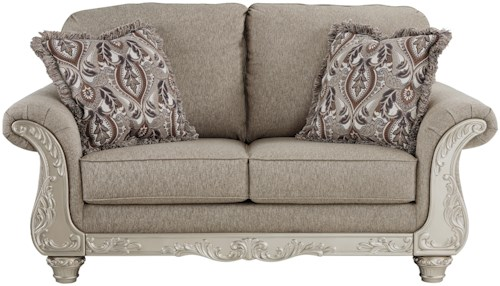 Signature Design by Ashley Gailian Loveseat with Silver Finish Ornate Details