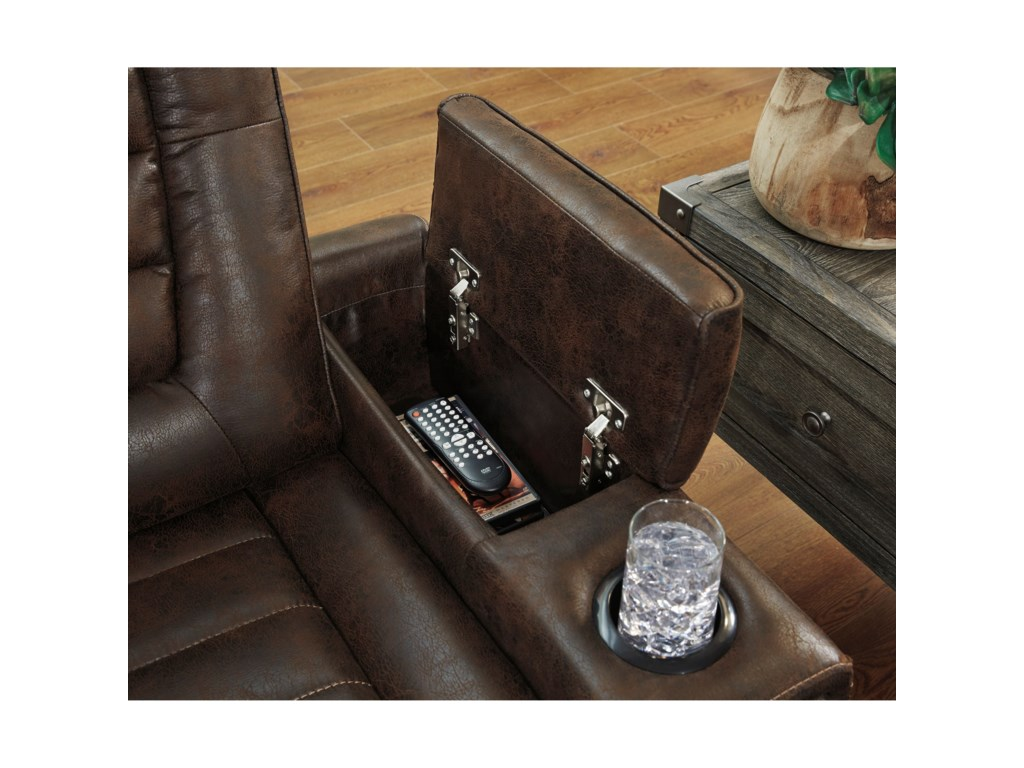 Signature Design by Ashley Game ZonePower Reclining Loveseat w/ Cnsl & Adj Hdrst