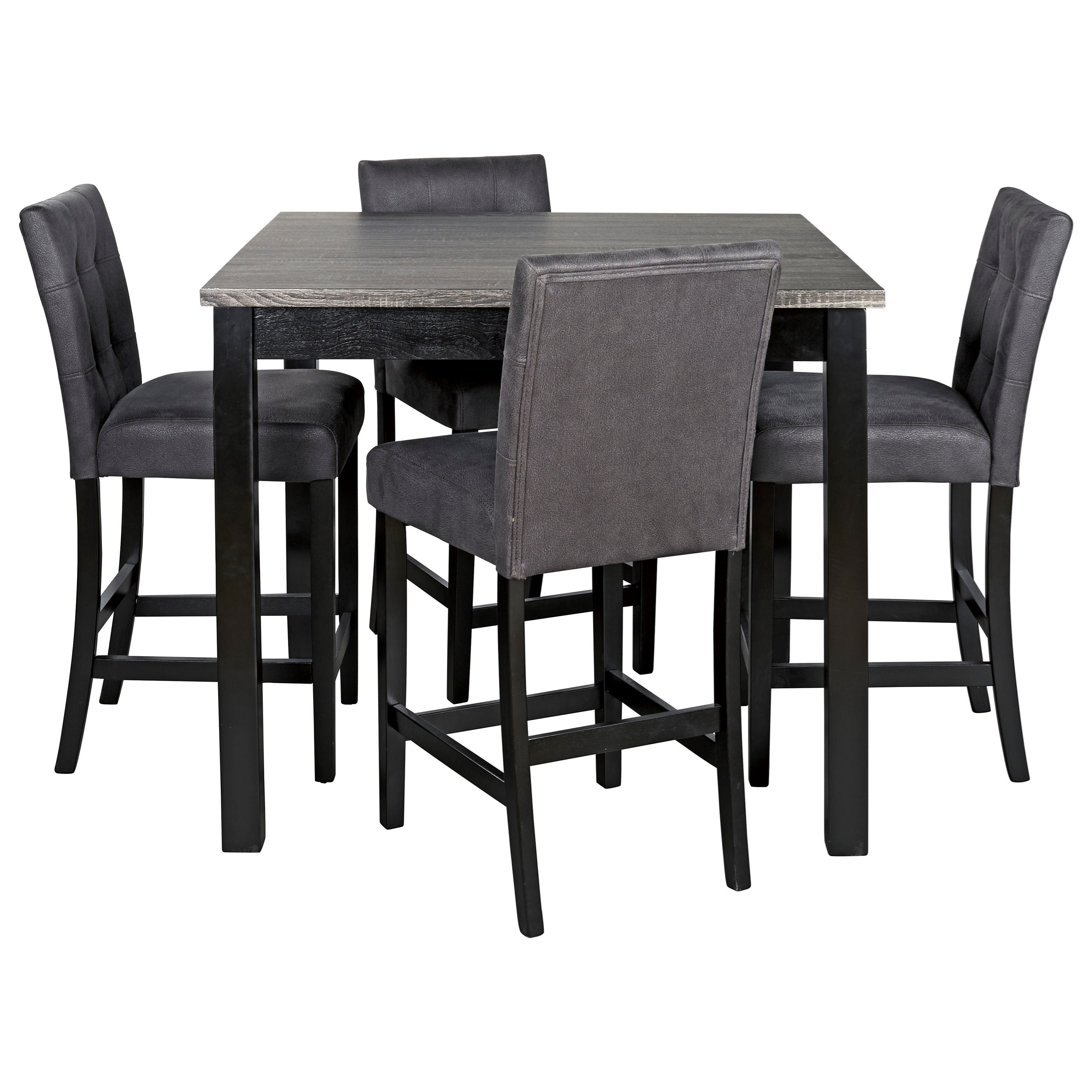 Picture of: Garvine 5 Piece Square Counter Height Dining Room Table Set With Bar Stools Sadler S Home Furnishings Pub Table And Stool Sets