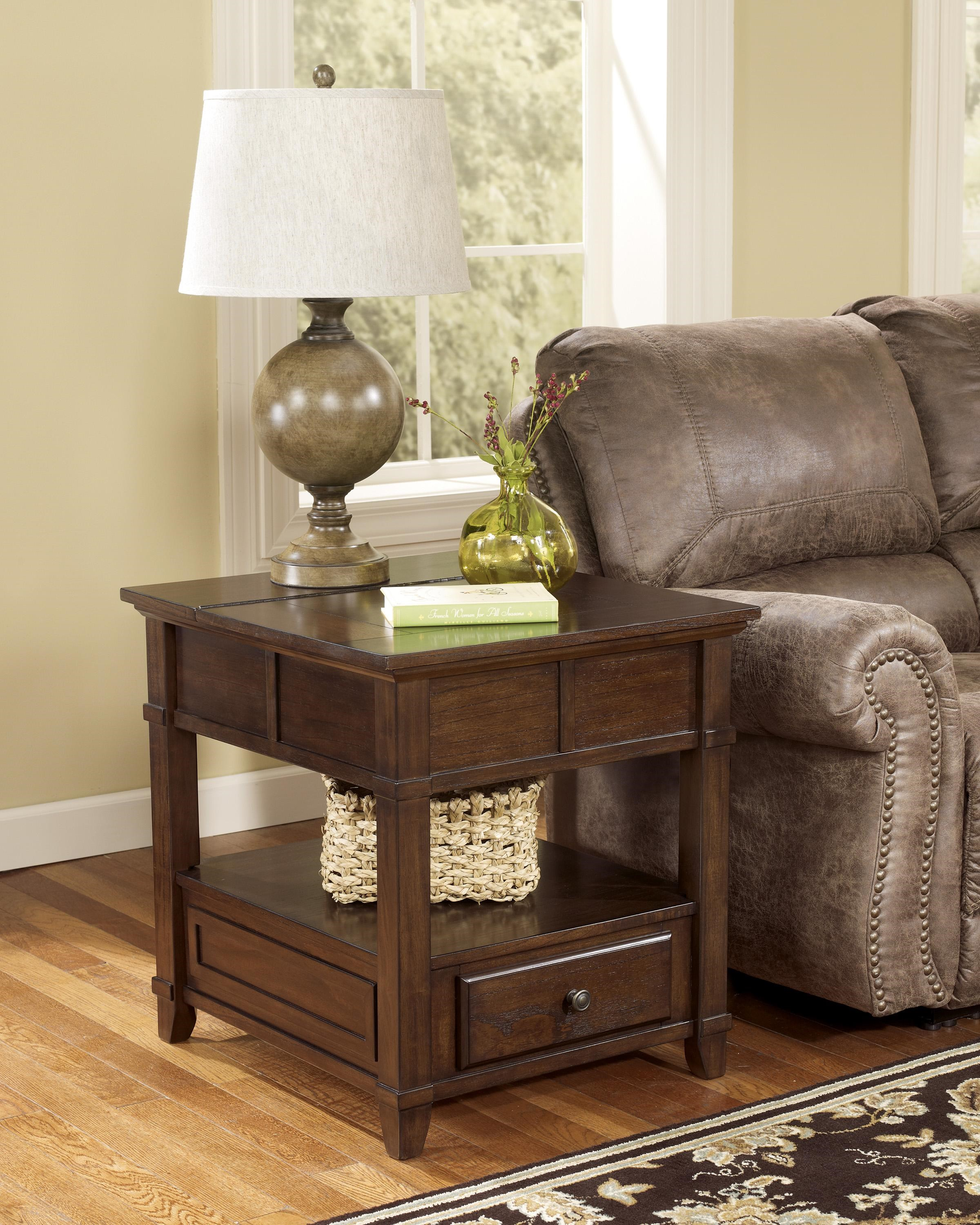 Ashley End Table With Power Gately T8453 End Table With Hidden