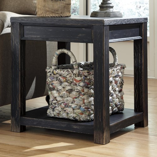 Signature Design by Ashley Gavelston Distressed Black Square End Table with Shelf