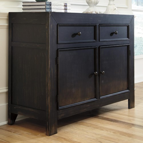 Signature Design by Ashley Gavelston Distressed Black Accent Cabinet