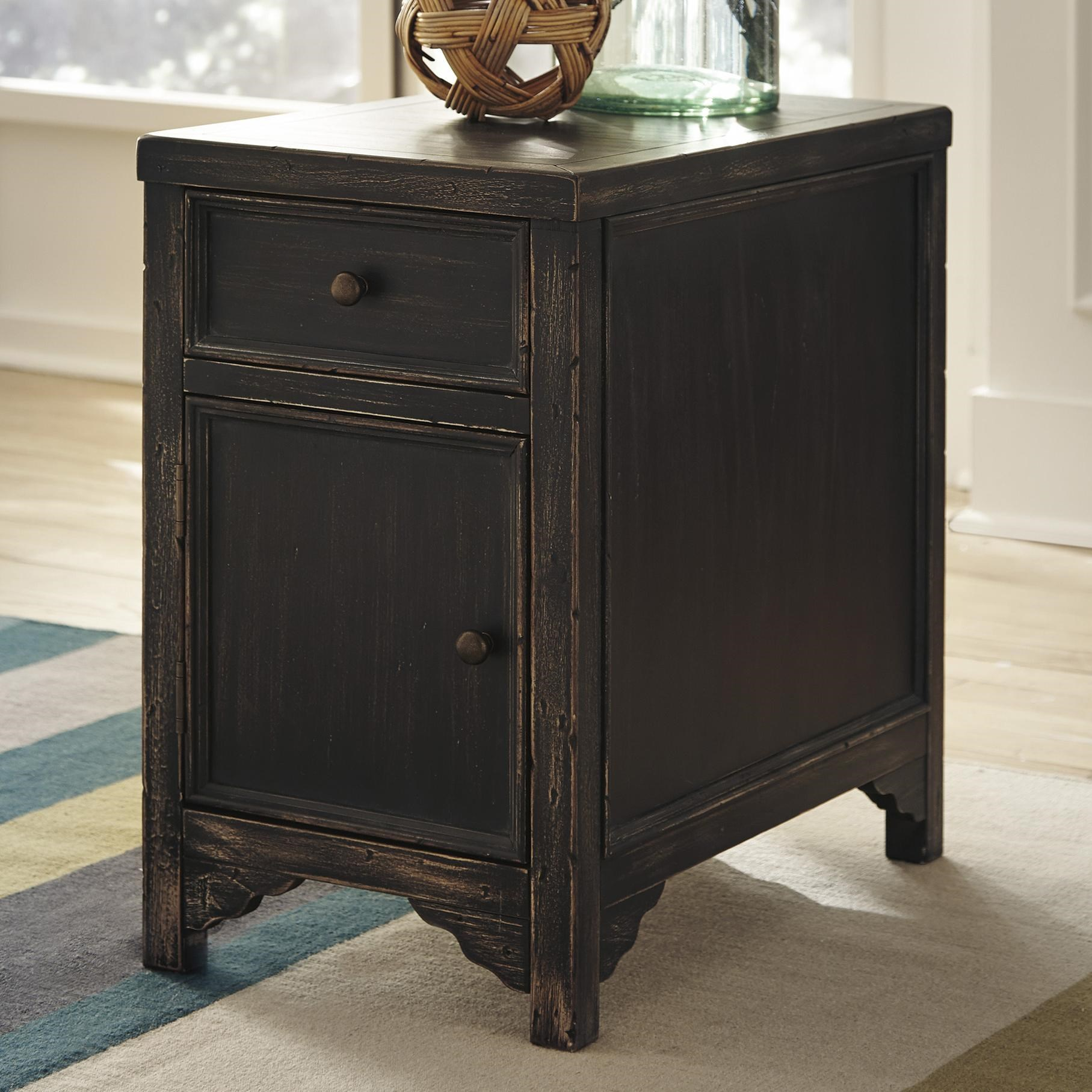 Signature Design By Ashley Gavelston Distressed Chair Side End Table Accent  Cabinet