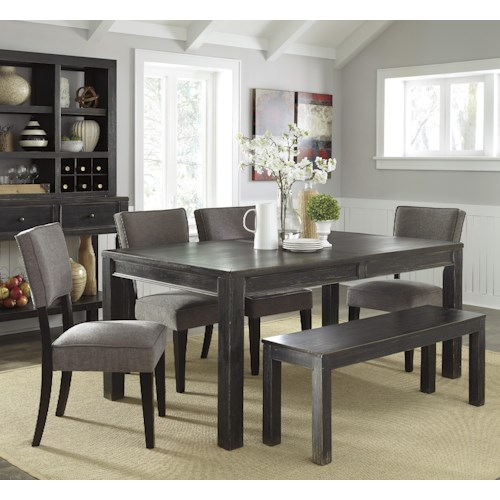 Signature Design by Ashley Gavelston 6-Piece Rectangular Table Set with Bench