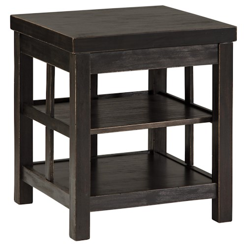 Signature Design by Ashley Gavelston Rustic Distressed Black Square End Table with 2 Shelves