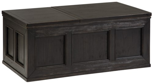 Signature Design By Ashley Gavelston Rustic Distressed Black Trunk