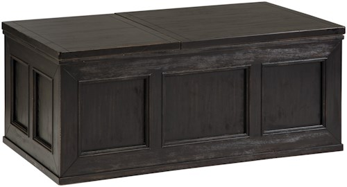 Signature Design by Ashley Gavelston Rustic Distressed Black Trunk Style Lift Top Cocktail Table w/ Casters