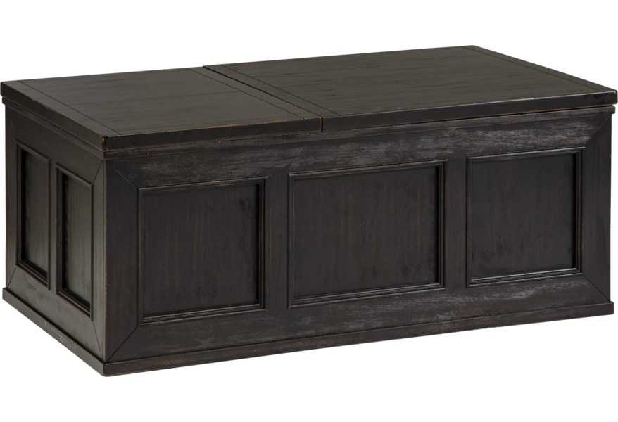Benchcraft Gavelston Rustic Distressed Black Trunk Style Lift Top