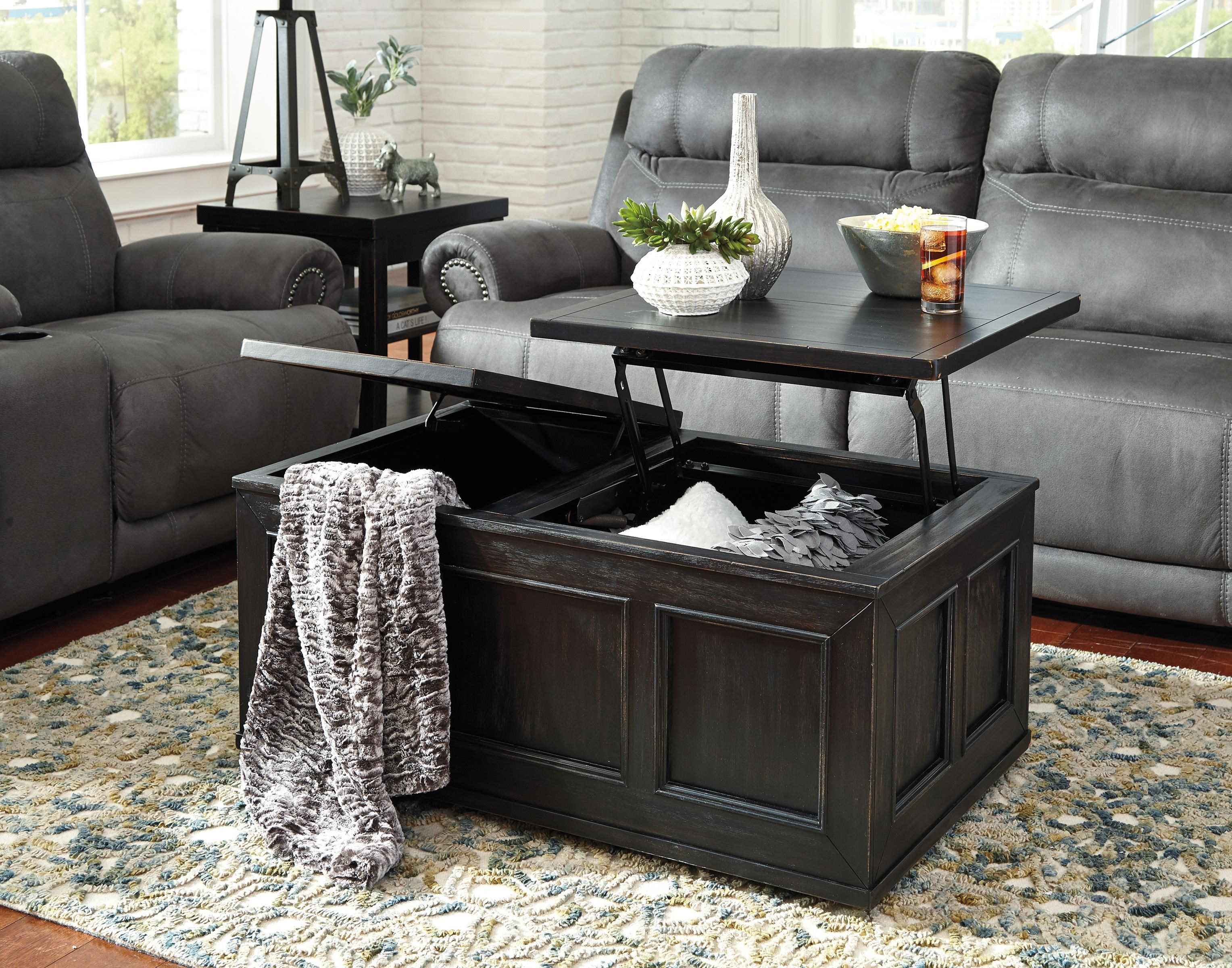 Nice Gavelston T752 9 Rustic Distressed Black Trunk Style Lift Top Cocktail Table  W/ Casters By Signature Design By Ashley