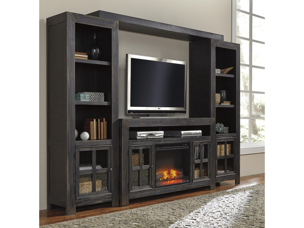 Signature Design by Ashley GulfportTV Stand with Fireplace, Piers & Bridge