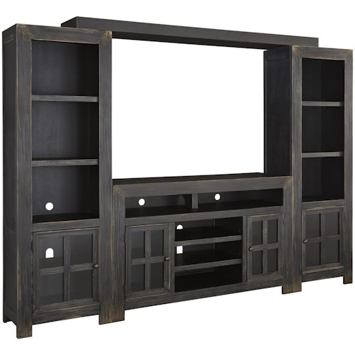 Signature Design by Ashley Gavelston Entertainment Wall Unit w/ Large TV Stand, Bridge, and Piers