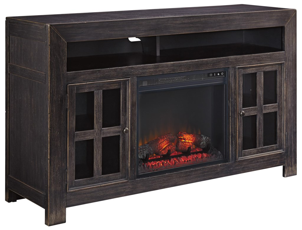 Ashley Signature Design Gavelston Distressed Black Large Tv Stand