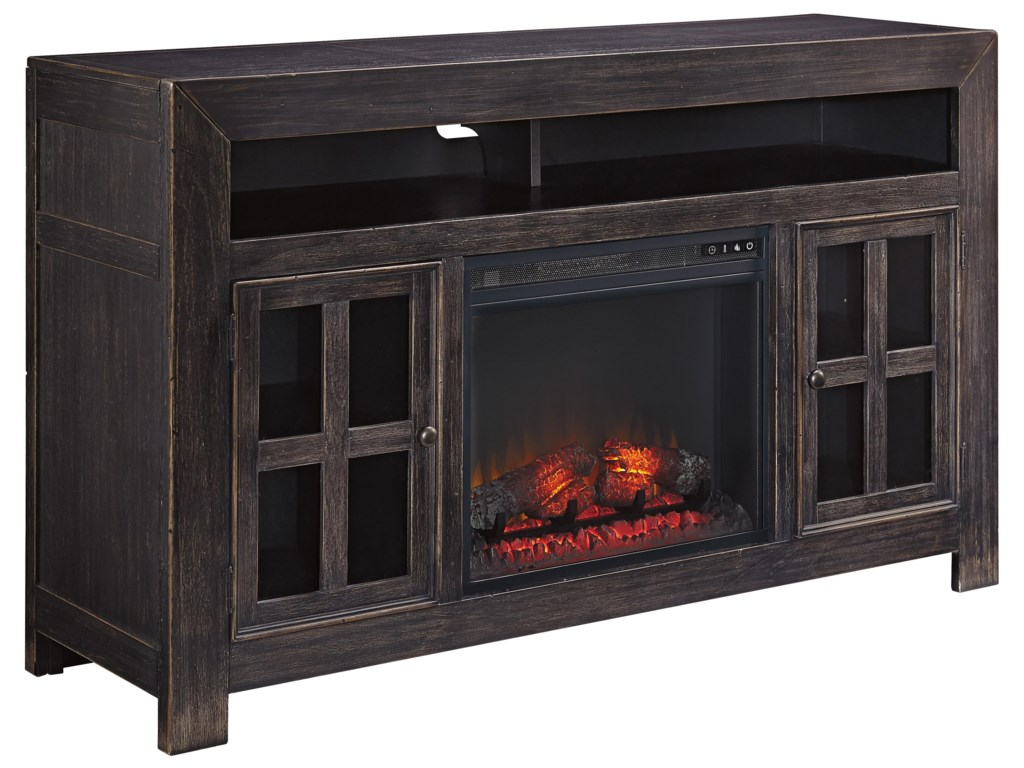 Rooms Collection Three GavelstonLarge TV Stand w/ Fireplace Insert