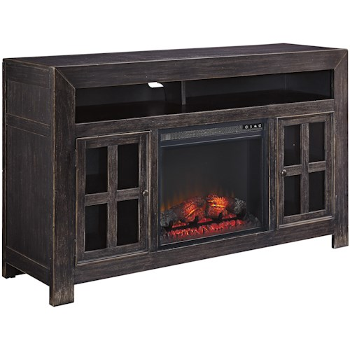 Signature Design by Ashley Gavelston Distressed Black Large TV Stand with Electric Fireplace Unit