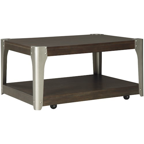 Signature Design by Ashley Geriville Industrial Rectangular Cocktail Table with Casters