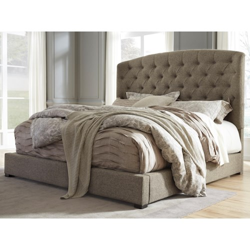 signature design by ashley gerlane queen upholstered bed with arched tufted headboard and low footboard - Queen Upholstered Bed Frame
