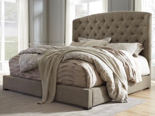Luxury Signature Design by Ashley Gerlane King Upholstered Bed with Arched Tufted Headboard and Low Footboard Modern - New upholstered bed frame and headboard Idea