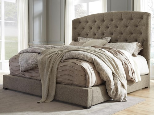 Signature Design by Ashley Gerlane King Upholstered Bed with Arched Tufted Headboard and Low Footboard
