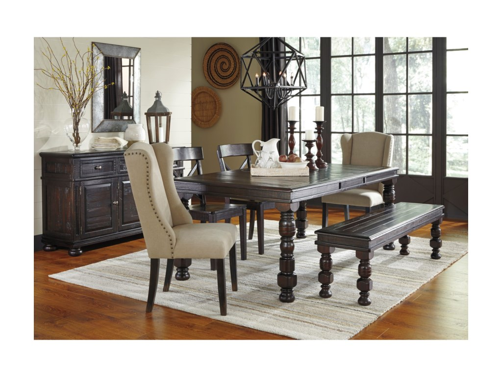Kitchen table upholstered bench - Gerlane 6 Piece Solid Pine Dining Table Set With Bench And Upholstered Chairs By Signature Design By Ashley