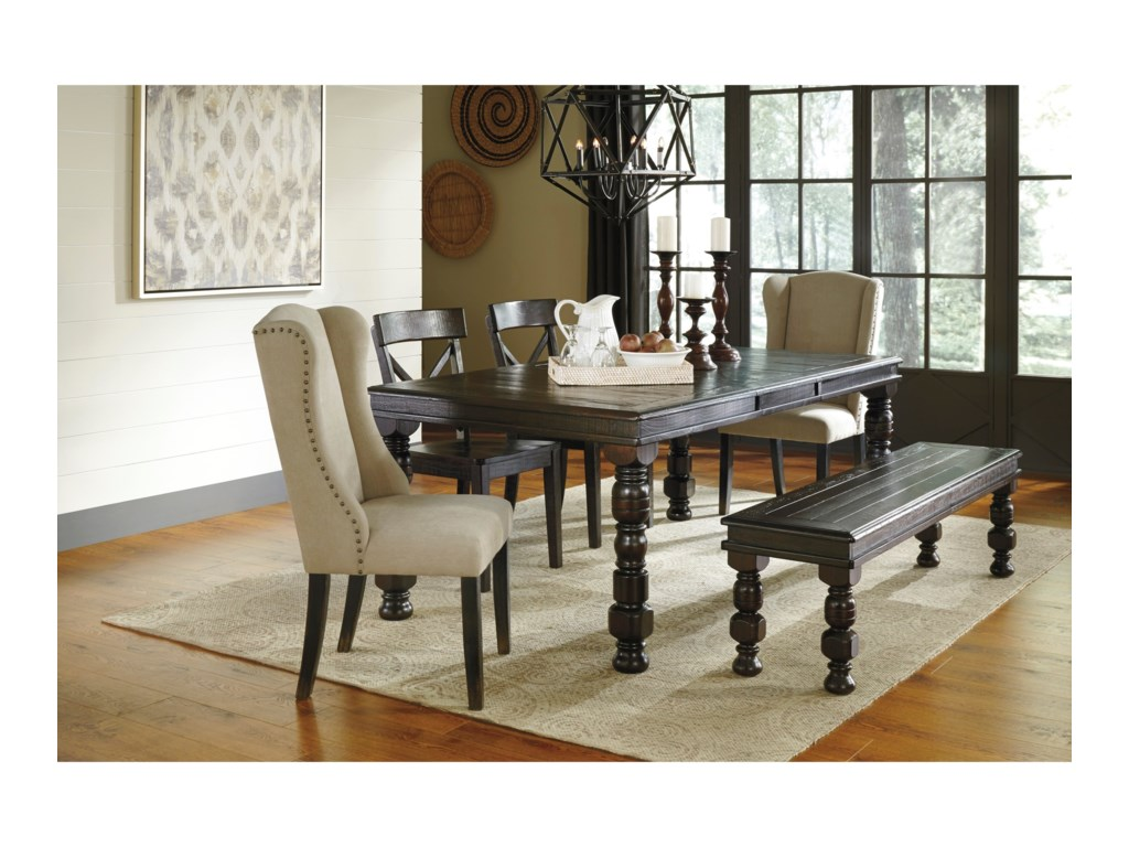 Signature Design by Ashley Gerlane 6-Piece Solid Pine Dining Table ...