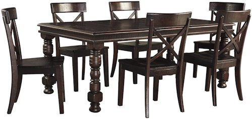 Signature Design by Ashley Gerlane 7-Piece Solid Pine Dining Table Set