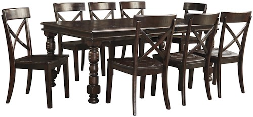 Signature Design by Ashley Gerlane 9-Piece Solid Pine Dining Table ...